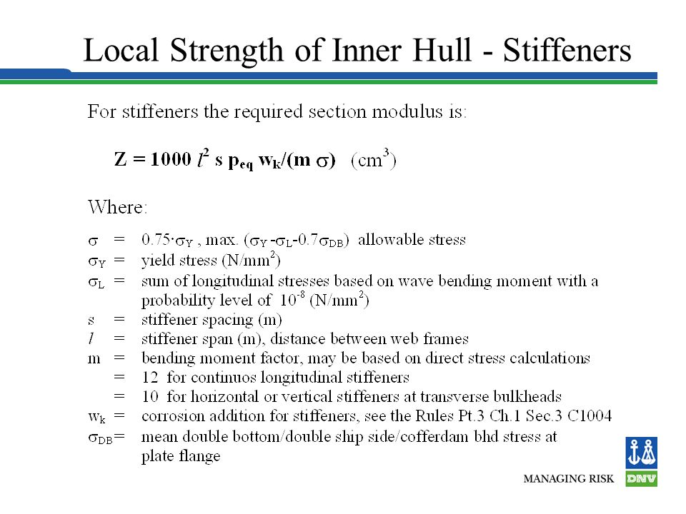 Local Strength of Inner Hull - Stiffeners