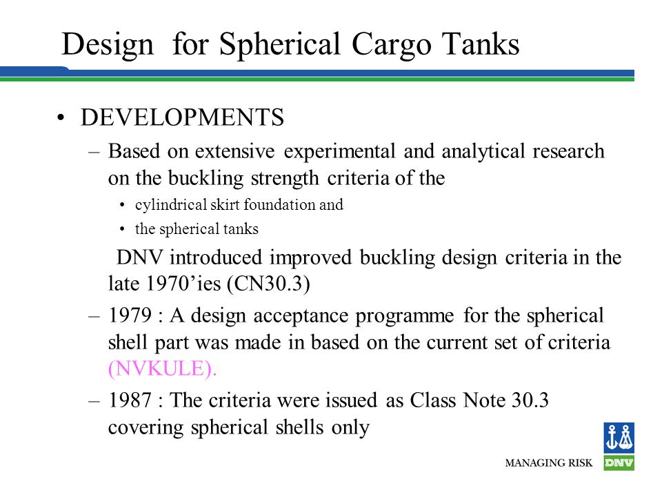 Design for Spherical Cargo Tanks