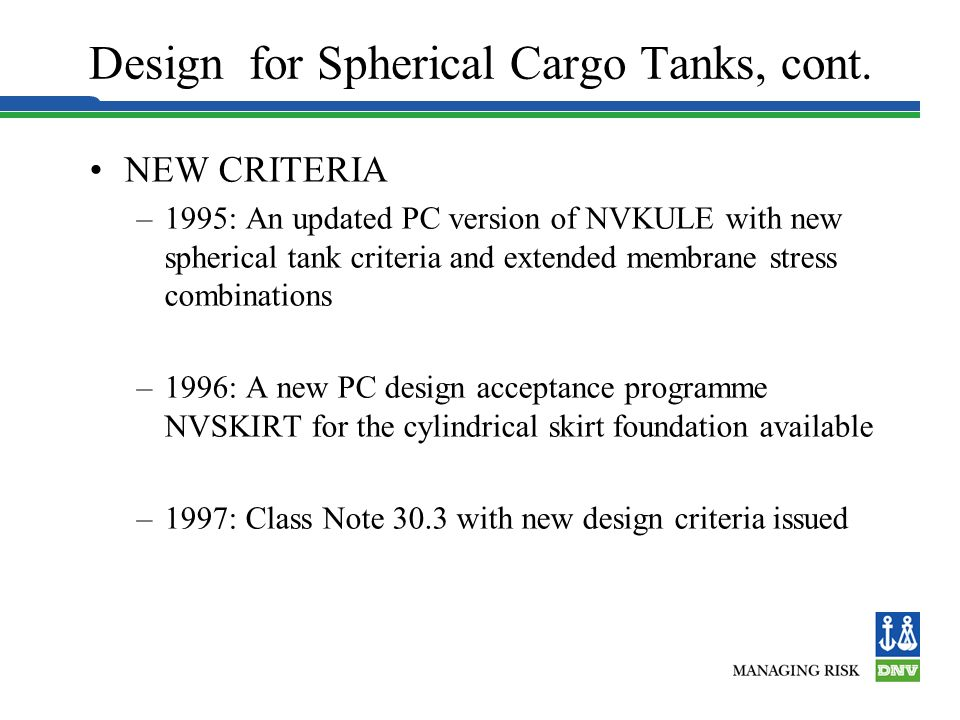 Design for Spherical Cargo Tanks, cont.