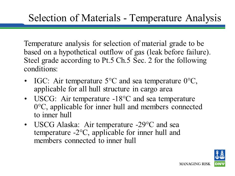Selection of Materials - Temperature Analysis