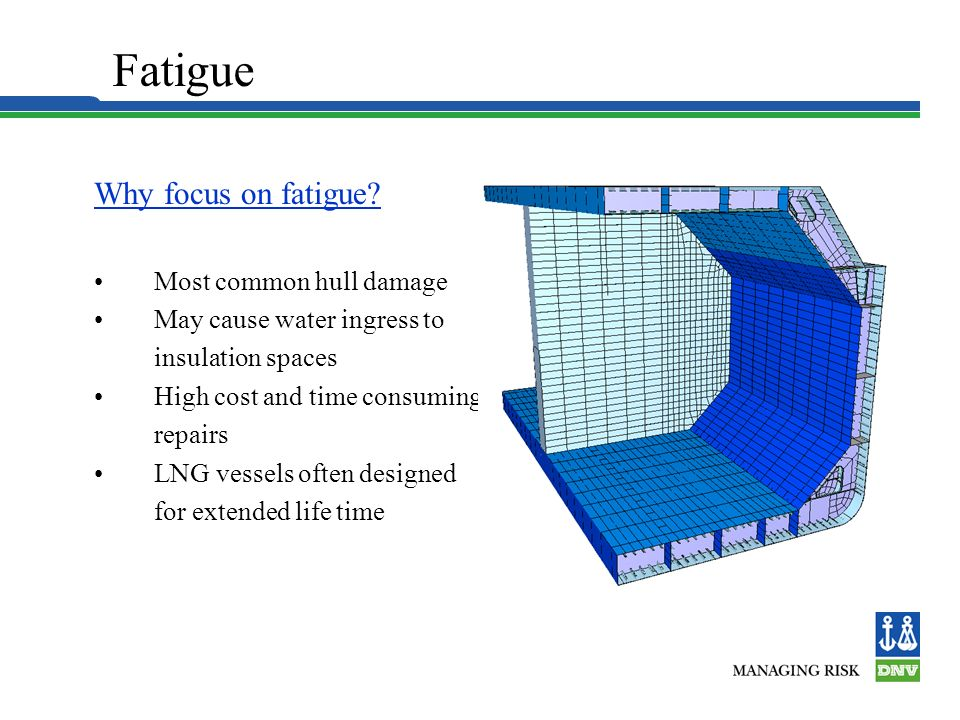 Fatigue Why focus on fatigue • Most common hull damage