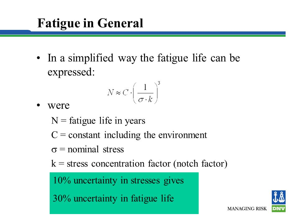 Fatigue in General In a simplified way the fatigue life can be expressed: were. N = fatigue life in years.