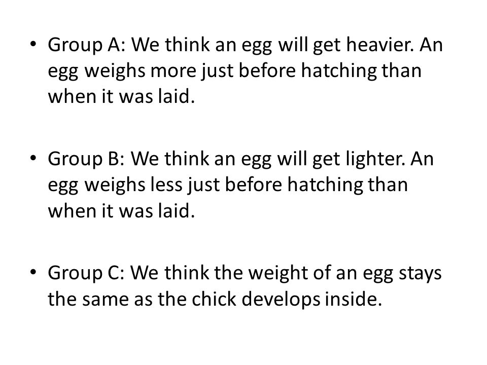 Group A: We think an egg will get heavier