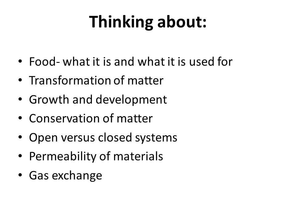 Thinking about: Food- what it is and what it is used for