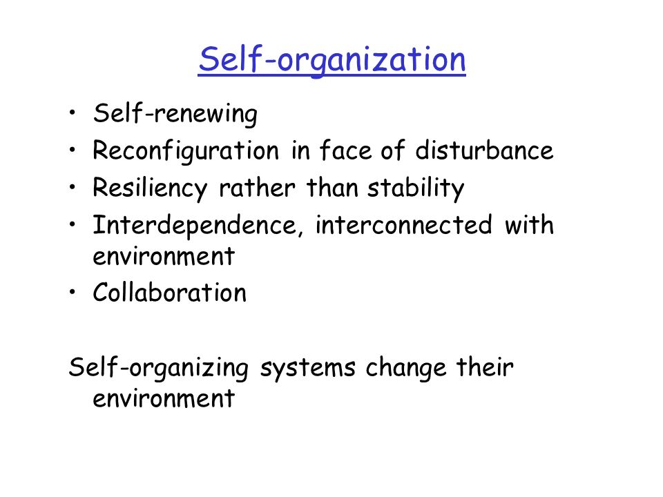 Self-organization Self-renewing Reconfiguration in face of disturbance