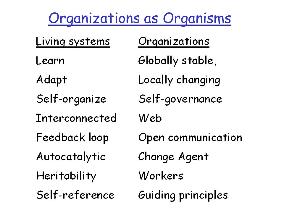 Organizations as Organisms