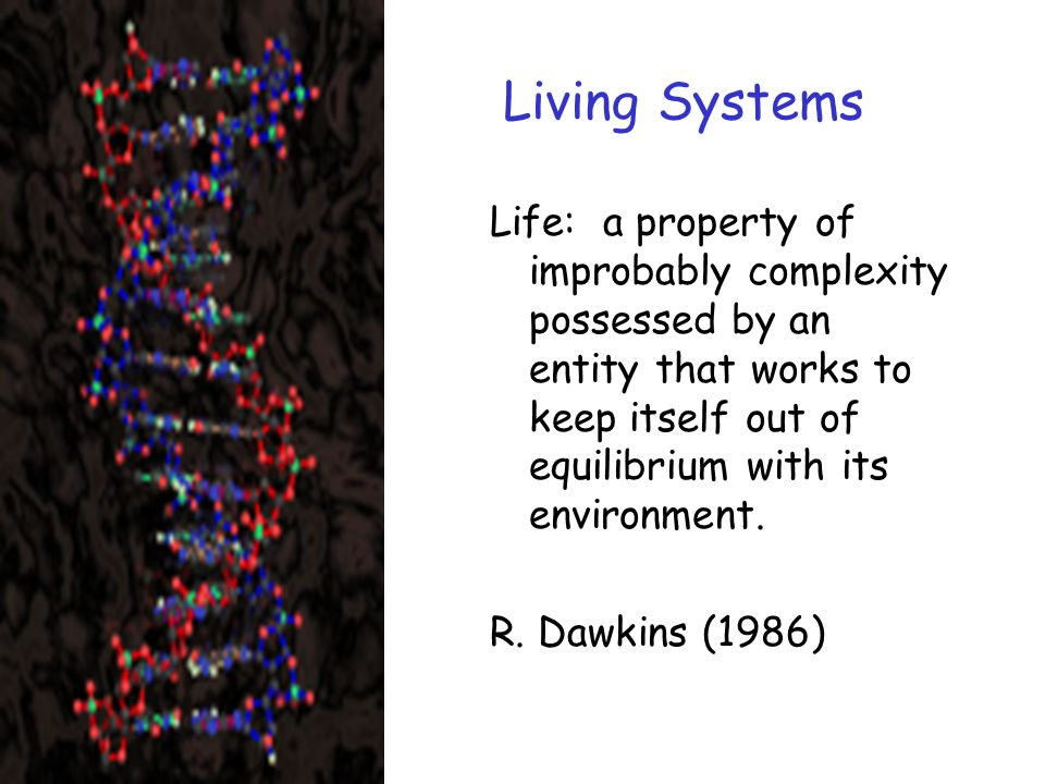 Living Systems Life: a property of improbably complexity possessed by an entity that works to keep itself out of equilibrium with its environment.