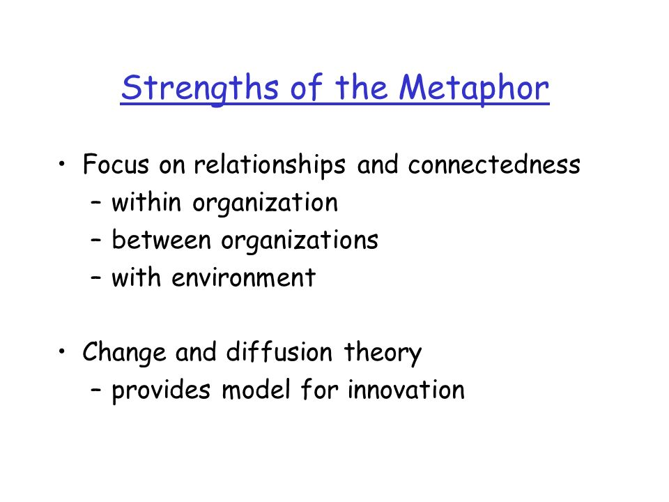 Strengths of the Metaphor