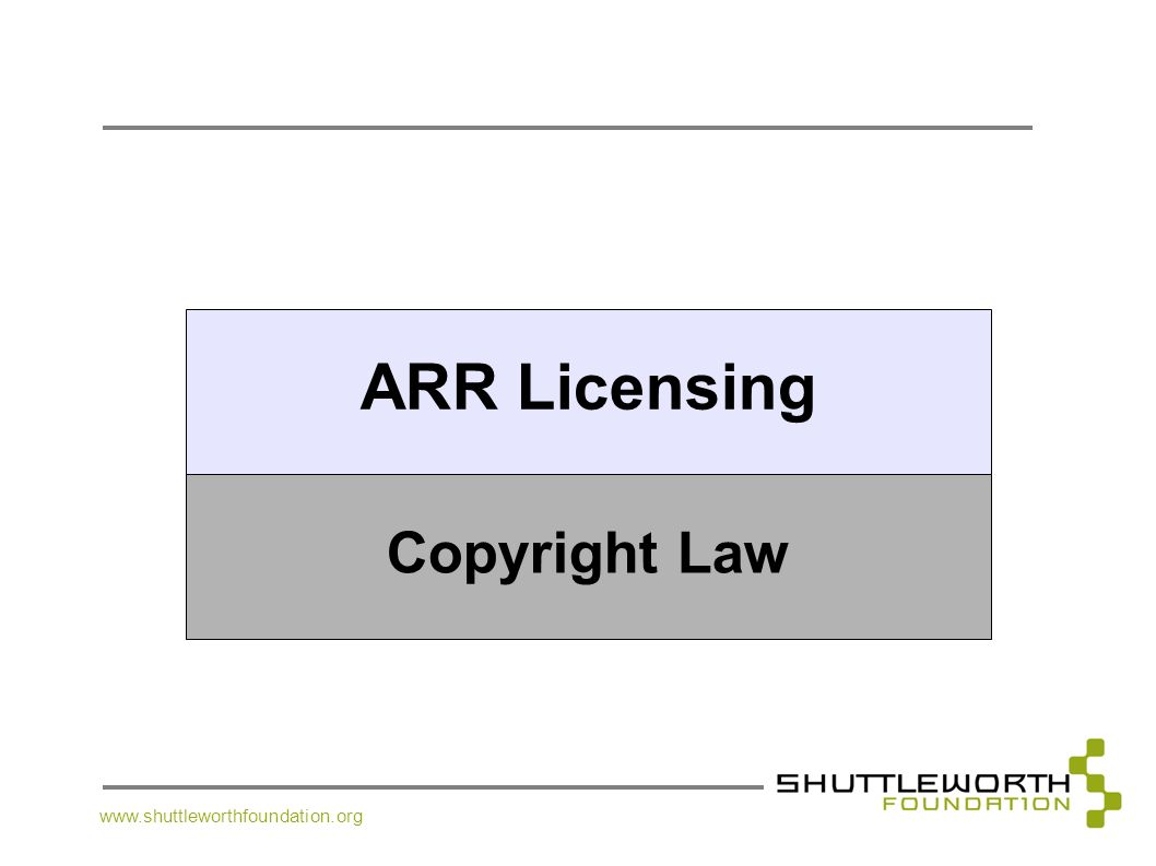 ARR Licensing Copyright Law www.shuttleworthfoundation.org