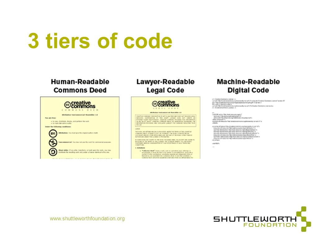 3 tiers of code www.shuttleworthfoundation.org