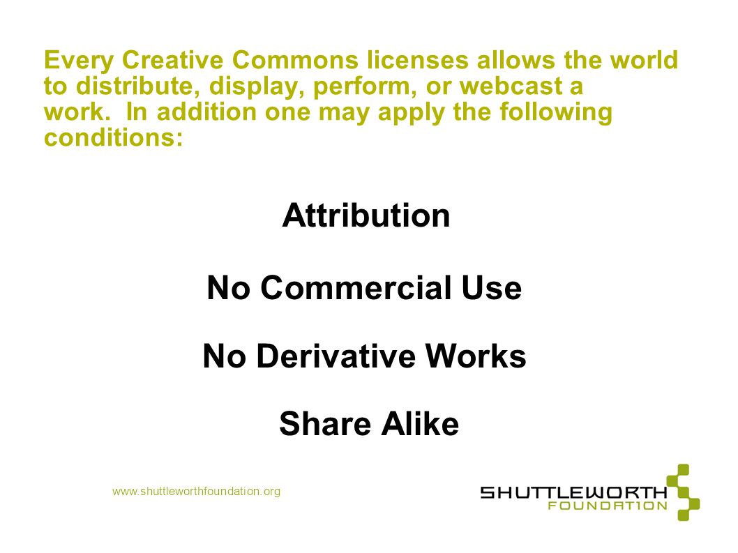 No Commercial Use No Derivative Works Share Alike
