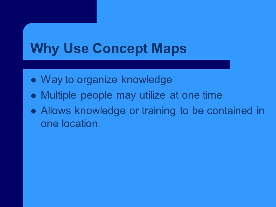 Why Use Concept Maps Way to organize knowledge