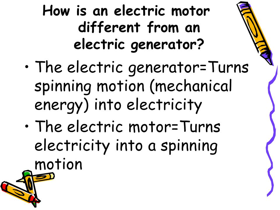 How is an electric motor different from an electric generator