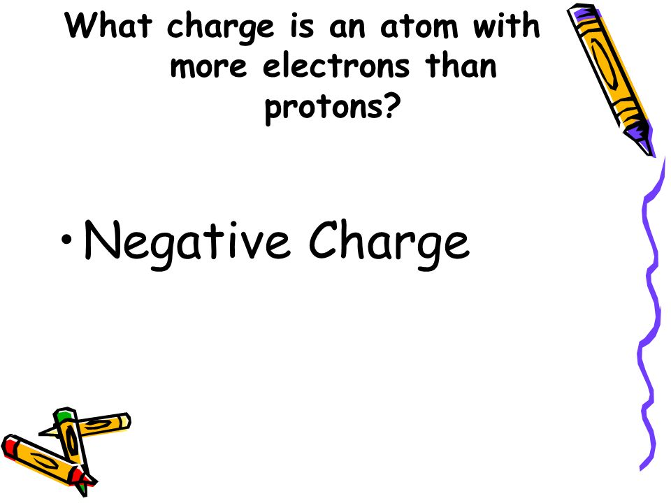 What charge is an atom with more electrons than protons