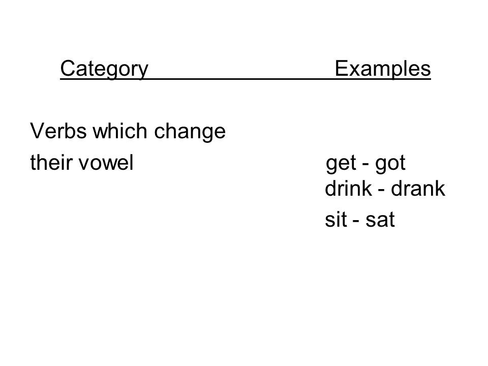 Category Examples Verbs which change.