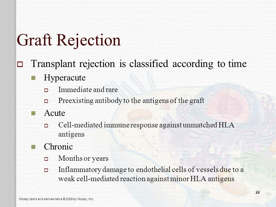 Graft Rejection Transplant rejection is classified according to time
