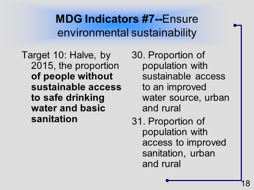 MDG Indicators #7--Ensure environmental sustainability