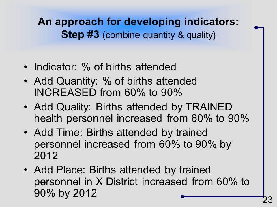 An approach for developing indicators: Step #3 (combine quantity & quality)