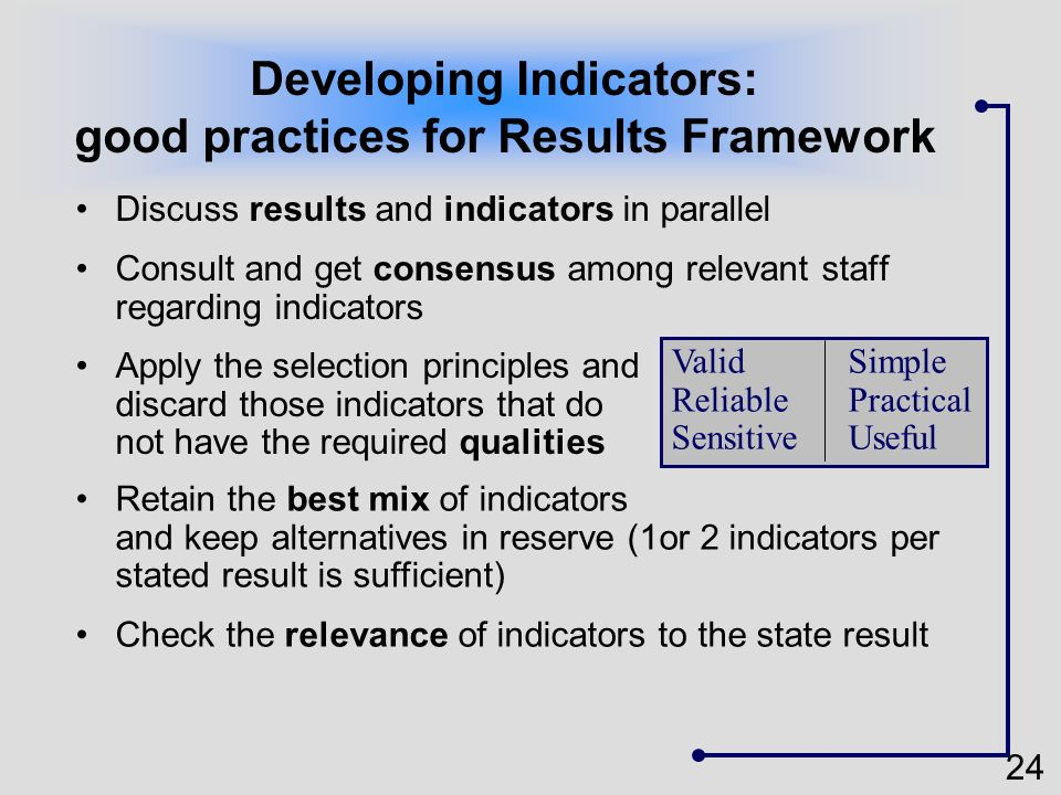 Developing Indicators: good practices for Results Framework
