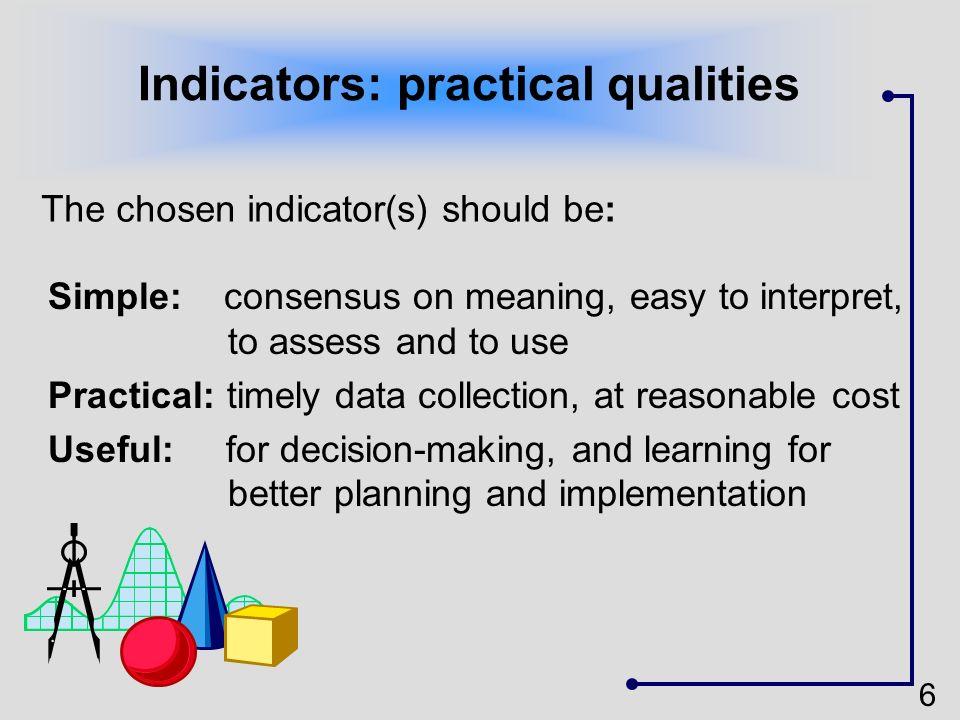 Indicators: practical qualities