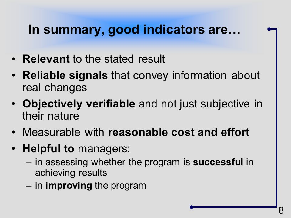 In summary, good indicators are…