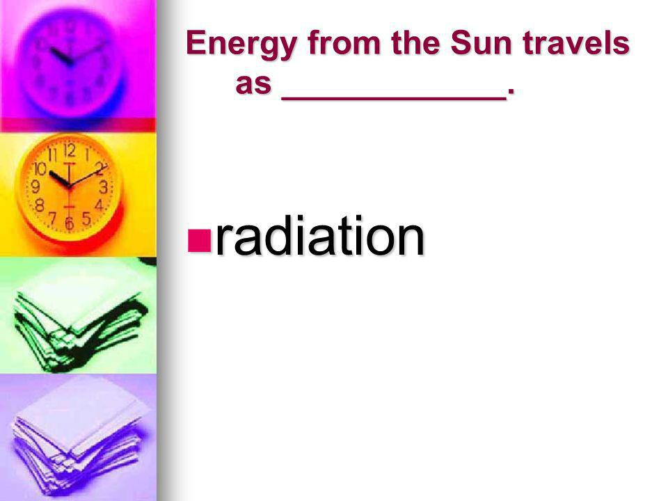 Energy from the Sun travels as ____________.