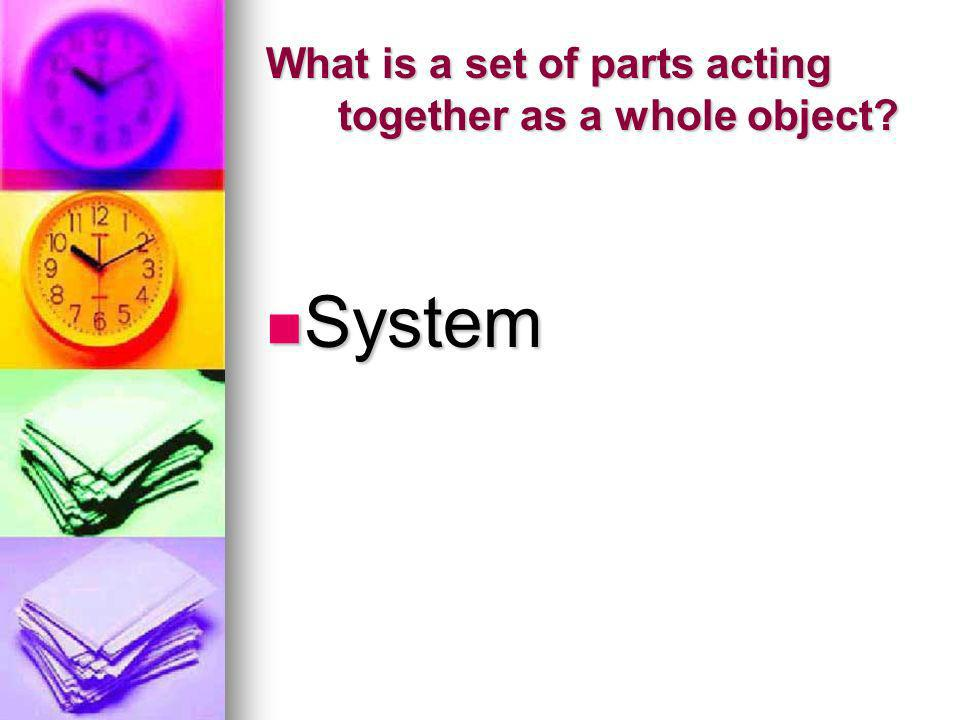 What is a set of parts acting together as a whole object