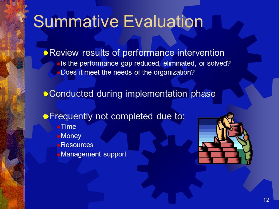 Summative Evaluation Review results of performance intervention