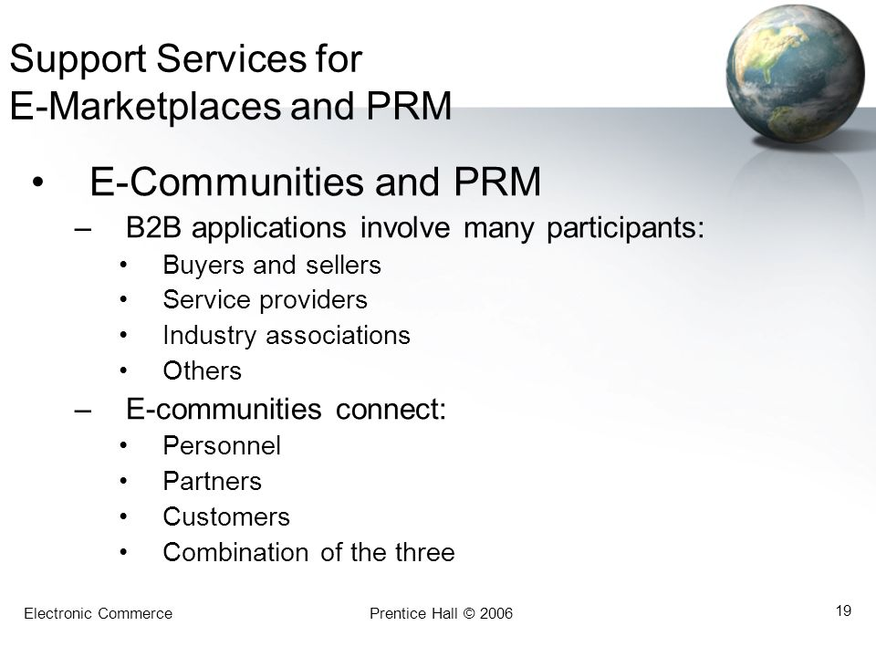 Support Services for E-Marketplaces and PRM
