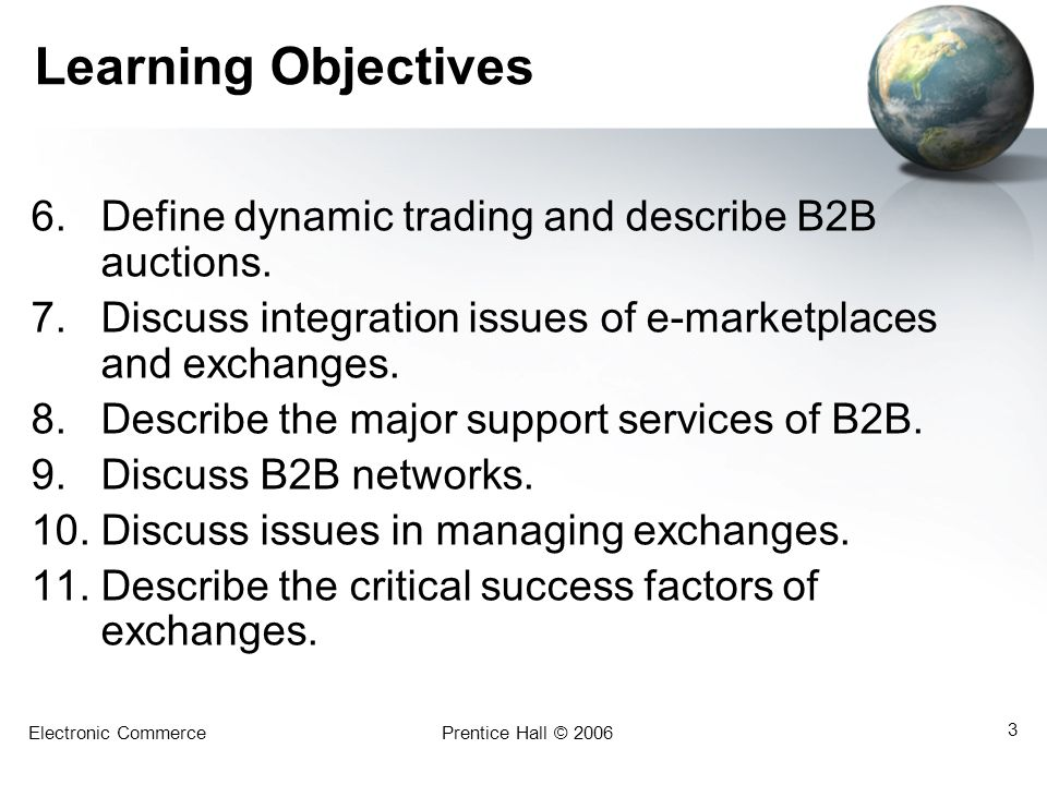 Learning Objectives Define dynamic trading and describe B2B auctions.