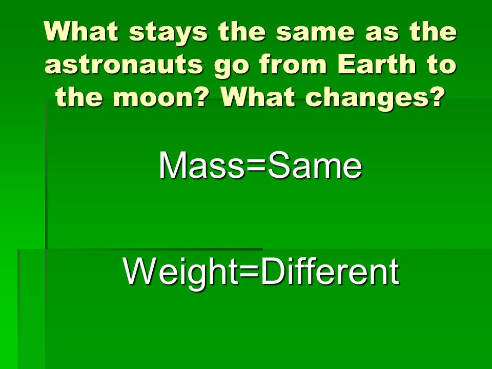 Mass=Same Weight=Different
