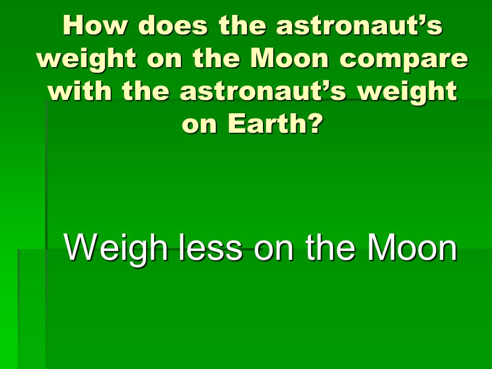 How does the astronaut's weight on the Moon compare with the astronaut's weight on Earth