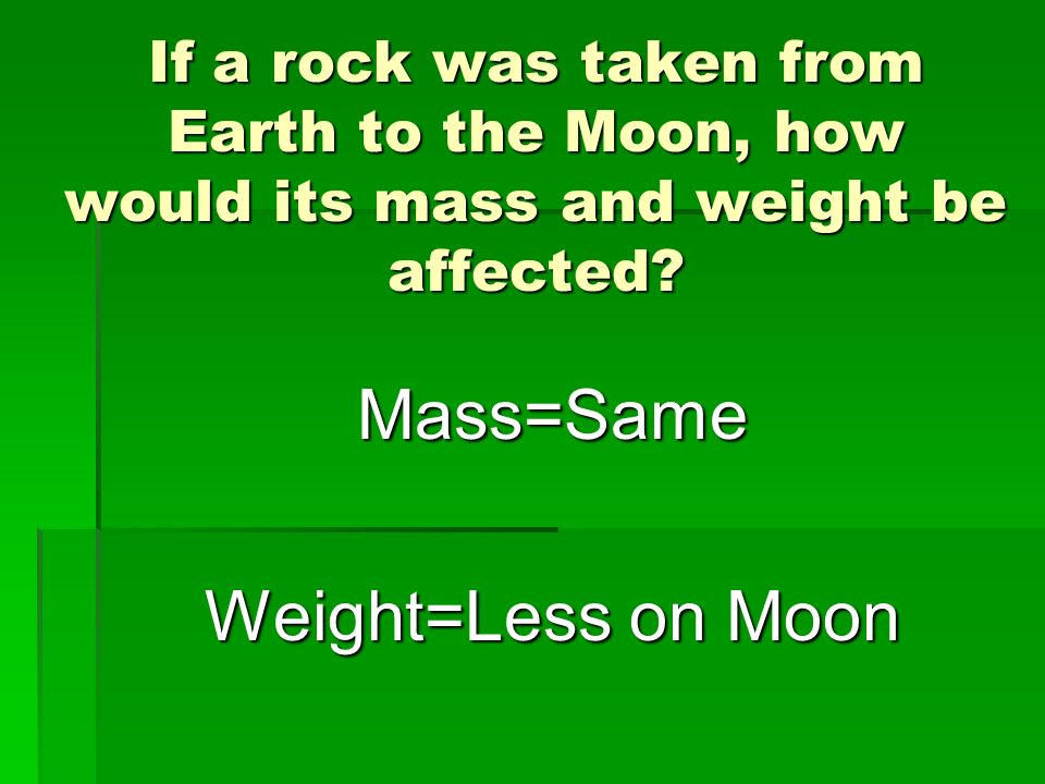 Mass=Same Weight=Less on Moon