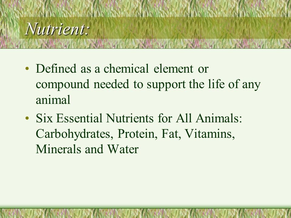 Nutrient: Defined as a chemical element or compound needed to support the life of any animal.