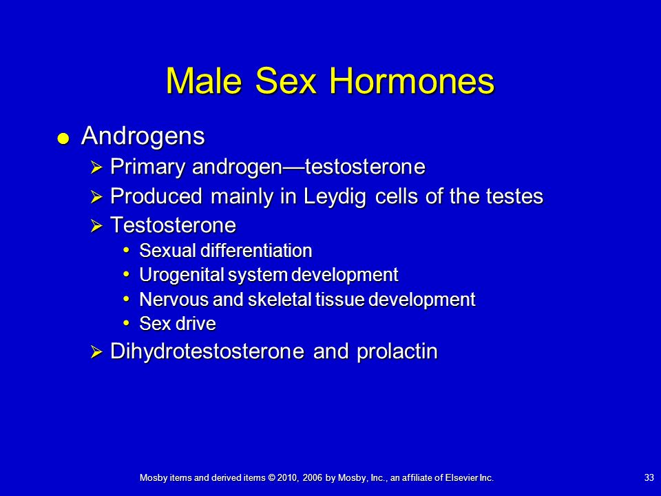 Male Sex Hormones Androgens Primary androgen—testosterone