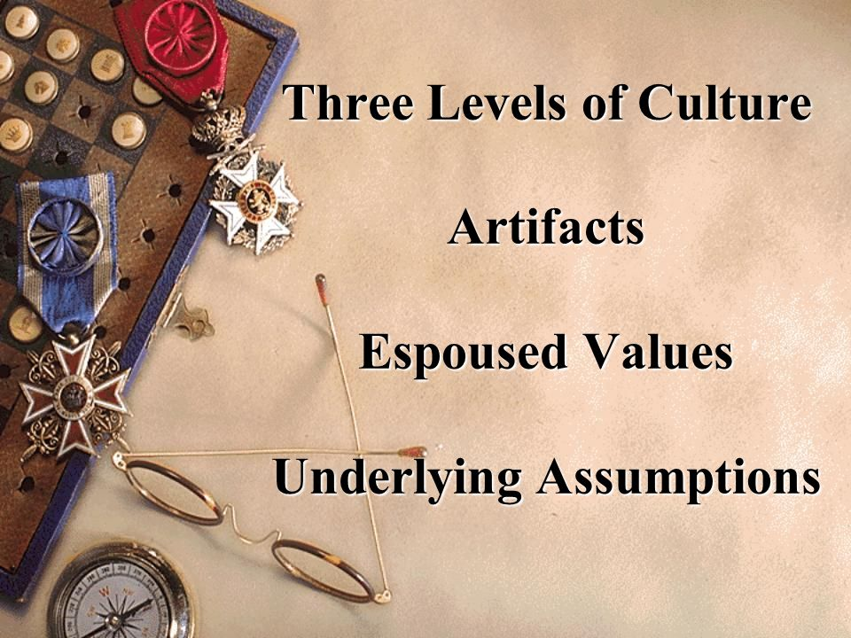 Three Levels of Culture Artifacts Espoused Values Underlying Assumptions