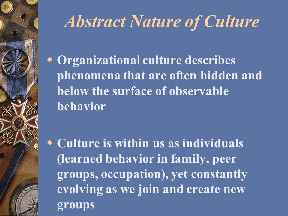 a look at the nature and substance of organizational culture Gender influences on organizational culture next we look at gender many researchers feel that because of its symbolic and ambiguous nature.