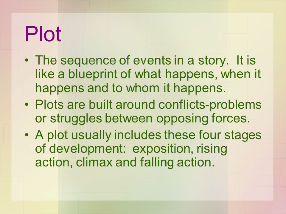 Plot The sequence of events in a story. It is like a blueprint of what happens, when it happens and to whom it happens.