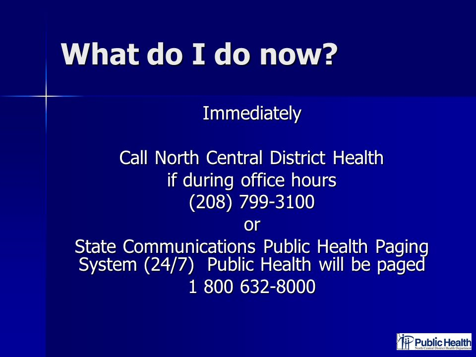 Call North Central District Health