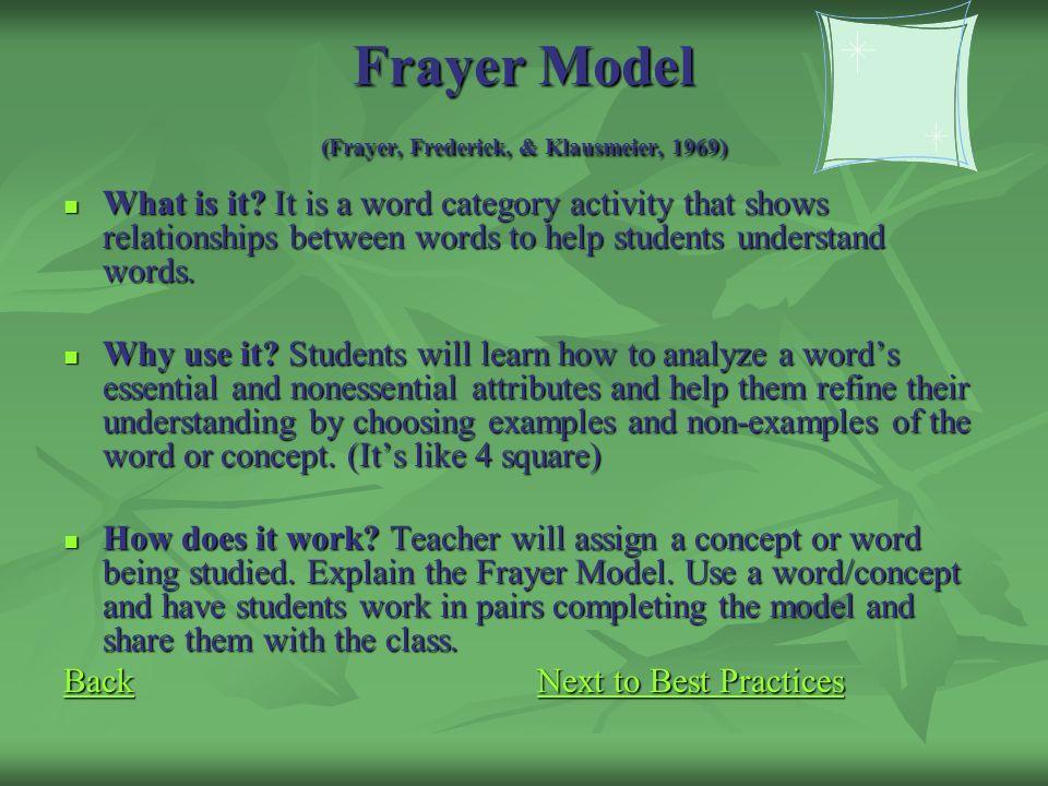 Frayer Model (Frayer, Frederick, & Klausmeier, 1969)