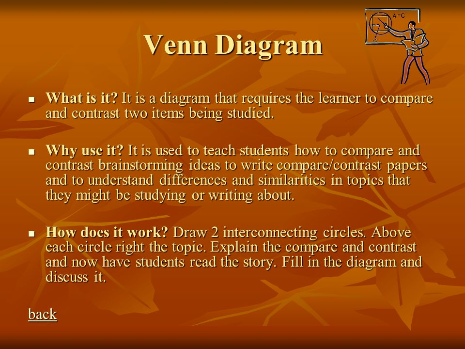 Venn Diagram What is it It is a diagram that requires the learner to compare and contrast two items being studied.