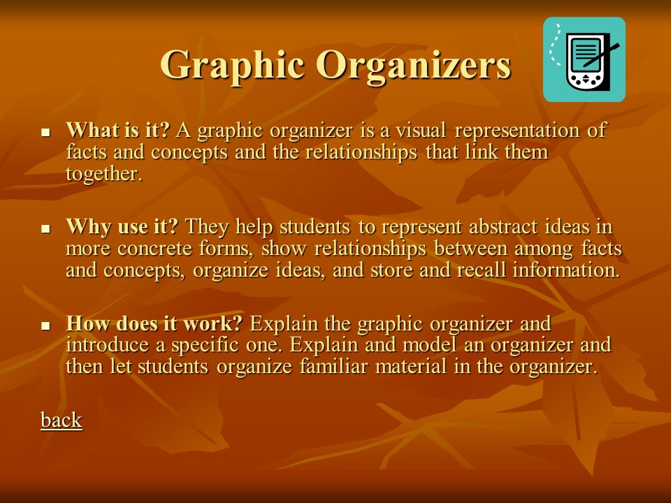 Graphic Organizers What is it A graphic organizer is a visual representation of facts and concepts and the relationships that link them together.