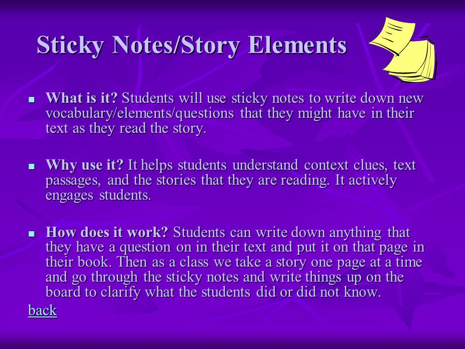 Sticky Notes/Story Elements