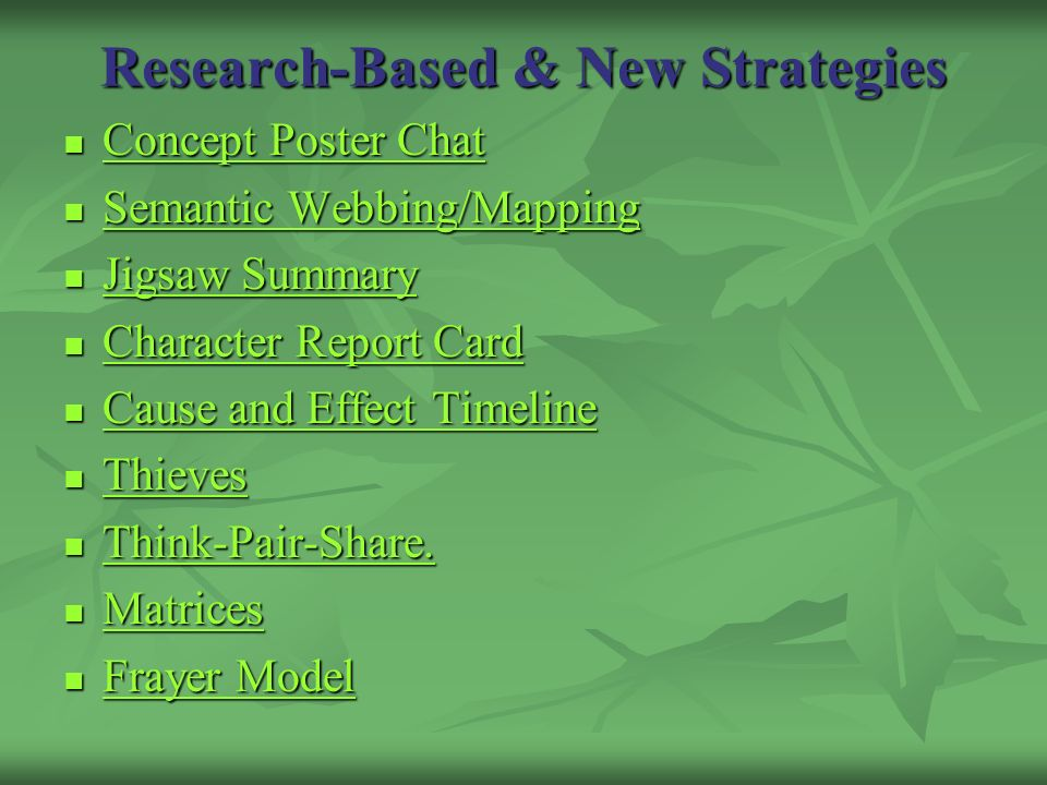 Research-Based & New Strategies