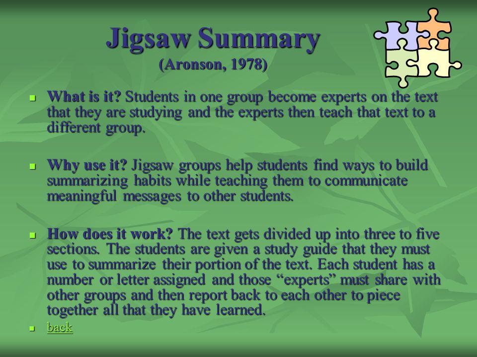 Jigsaw Summary (Aronson, 1978)