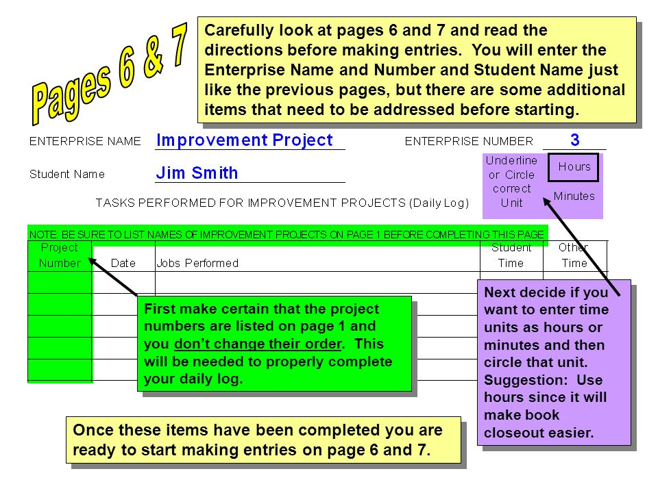 Carefully look at pages 6 and 7 and read the directions before making entries. You will enter the Enterprise Name and Number and Student Name just like the previous pages, but there are some additional items that need to be addressed before starting.