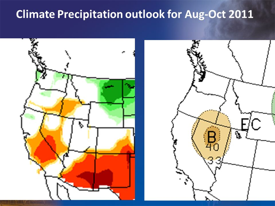 Climate Precipitation outlook for Aug-Oct 2011