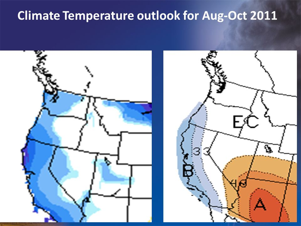 Climate Temperature outlook for Aug-Oct 2011