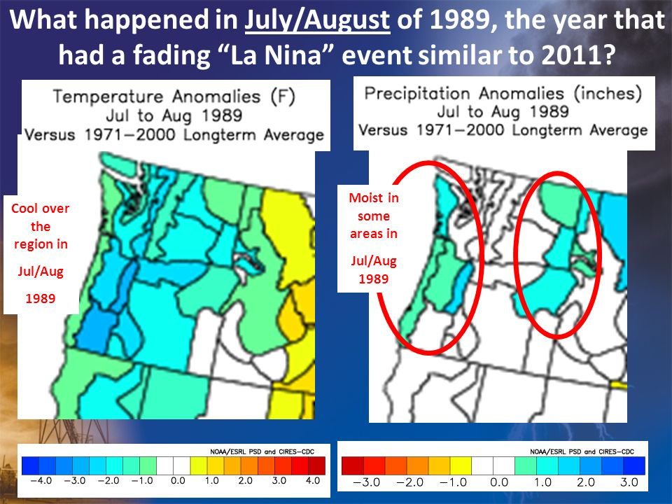 What happened in July/August of 1989, the year that had a fading La Nina event similar to 2011
