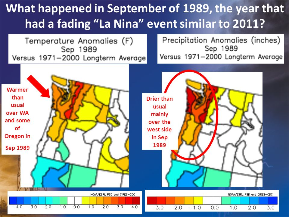 What happened in September of 1989, the year that had a fading La Nina event similar to 2011